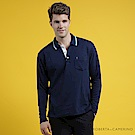 ROBERTA諾貝達 台灣製 帥氣型男 設計配色POLO長袖POLO棉衫深藍