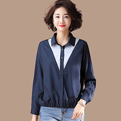 初色  寬鬆撞色襯衫-深藍色-(L-2XL可選)