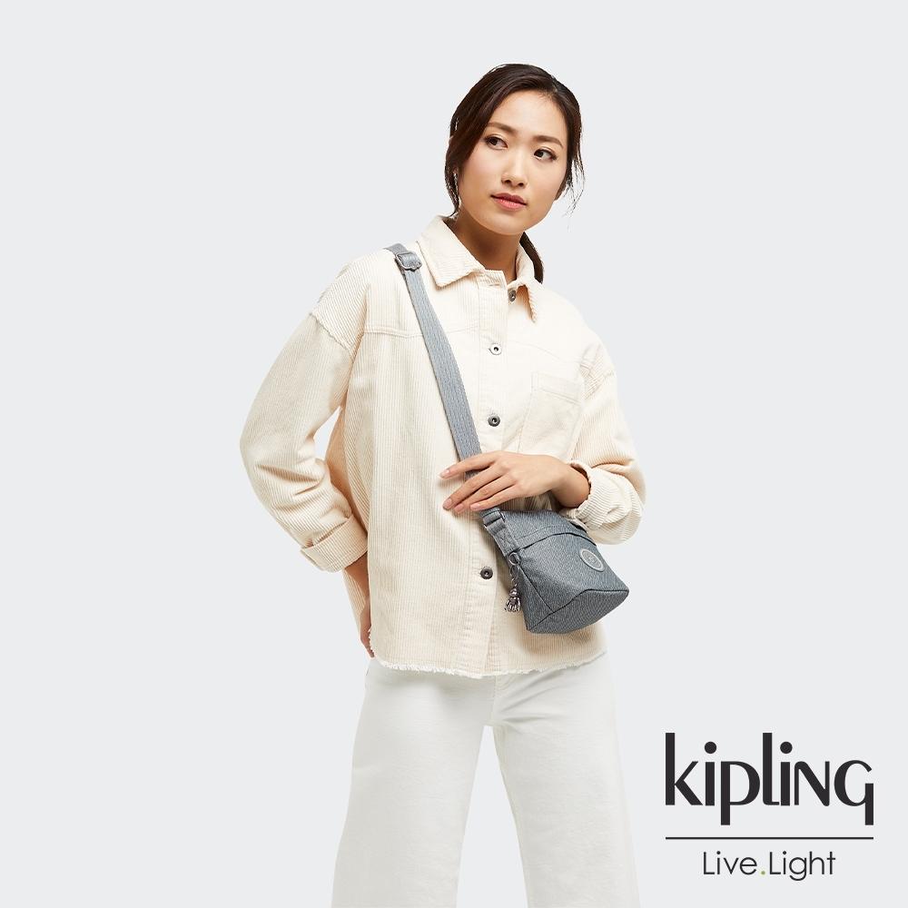Kipling 個性淺灰藍大開口簡約肩背包-SONJA MINI