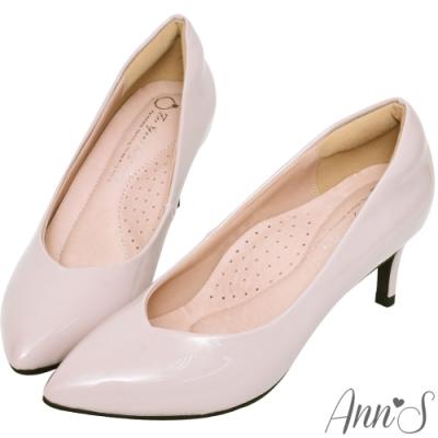 Ann'S魔術軟漆V口顯瘦低跟尖頭包鞋-紫(版型偏小)