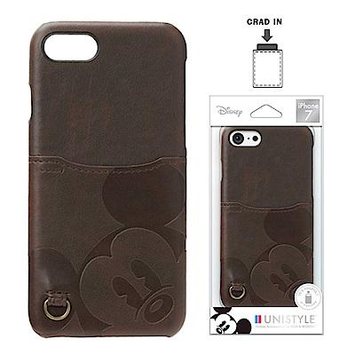 iPhone 8/7 迪士尼 皮革背蓋口袋 硬殼 4.7吋-大臉米奇
