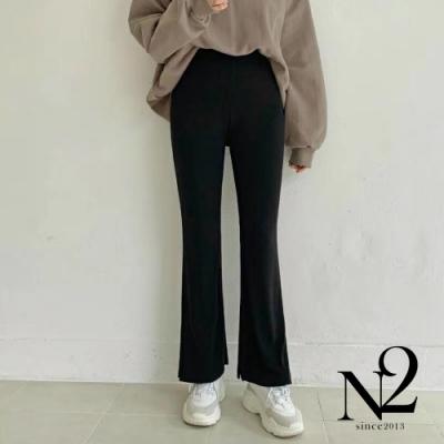 下著 正韓素面棉質側開岔彈性休閒褲(黑)N2