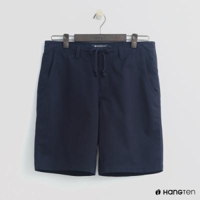 Hang Ten - 男裝 - 簡約綁帶棉質休閒短褲-深藍