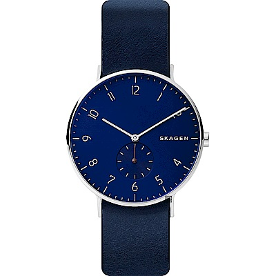 SKAGEN 北歐時尚小秒針石英錶-藍/40mm (SKW6478)