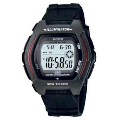CASIO 帥氣酒桶兩地時間運動電子錶(HDD-600-1A)-黑/44.1mm
