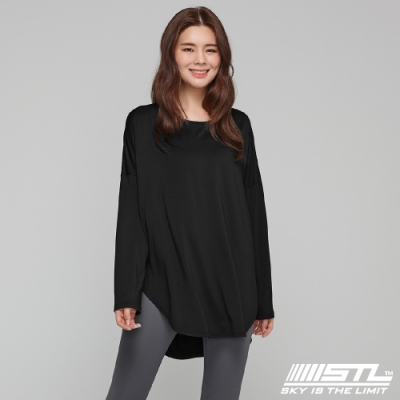 STL yoga LYNING LS 韓國瑜珈 運動機能 落肩加寬長版蓋臀長袖上衣 黑