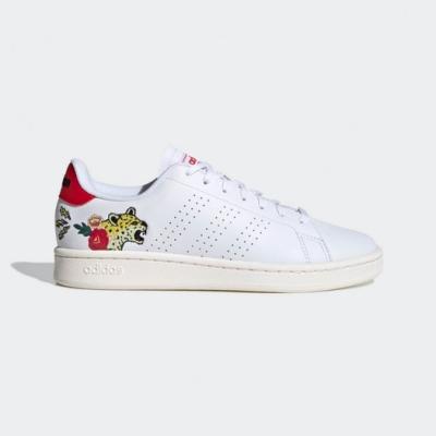 adidas 休閒鞋 Advantage 復古 低筒 女鞋 愛迪達 皮革鞋面 電繡 花豹 穿搭 白 紅 EH3425