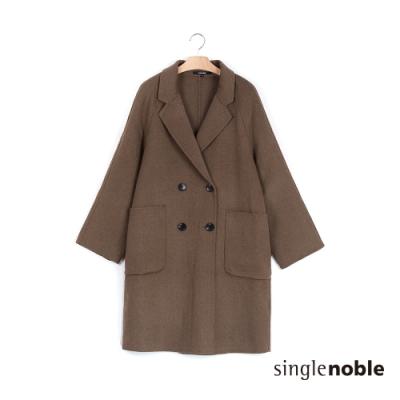 獨身貴族 俐落微寬鬆雙排釦毛呢大衣(2色)