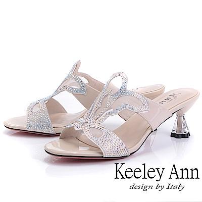 Keeley Ann造型透視跟 鏤空網紗水鑽拖鞋(裸色-Ann系列)