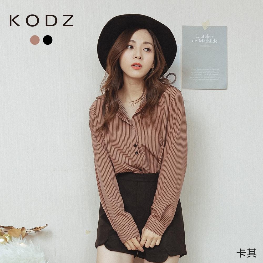 東京著衣-KODZ 清新直條紋俏皮排釦雪紡襯衫(共二色)