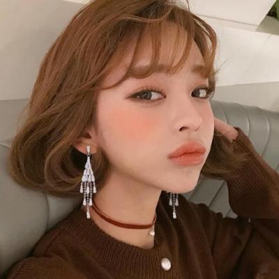 梨花HaNA 韓國925銀晶鑽女神滿鑽菱形流蘇耳環