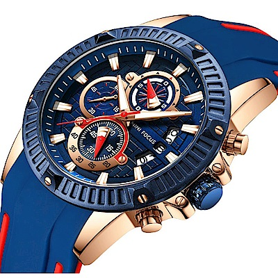 美國熊 國民男錶  運動賽車風格 男士真三眼計時 日期窗顯示 腕錶
