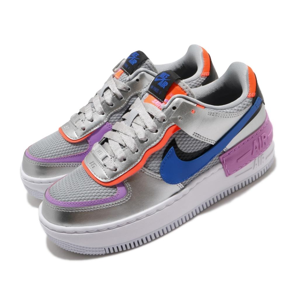 Nike 休閒鞋 AF1 Shadow 運動 女鞋 厚底 舒適 穿搭 色塊拼接 球鞋 銀 藍 CW6030001