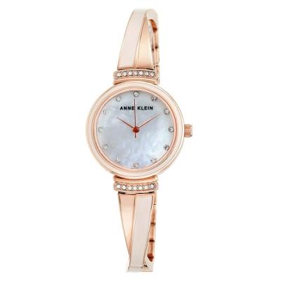 Anne Klein 琺瑯工藝X施華洛世奇水鑽絕美腕錶-白珍珠母貝x26mm
