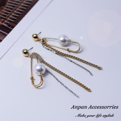【Anpan 愛扮】韓東大門個性金屬胸針式珍珠流蘇耳釘式耳環