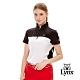 【Lynx Golf】女款吸汗速乾異材質剪接小山貓款短袖立領POLO衫-黑色 product thumbnail 2
