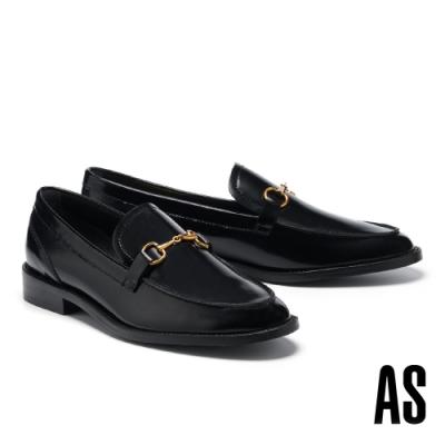 低跟鞋 AS 經典復古馬銜釦全真皮樂福低跟鞋-黑