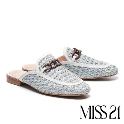 拖鞋 MISS 21 慵懶度假風木紋鍊條草編穆勒高跟拖鞋-藍