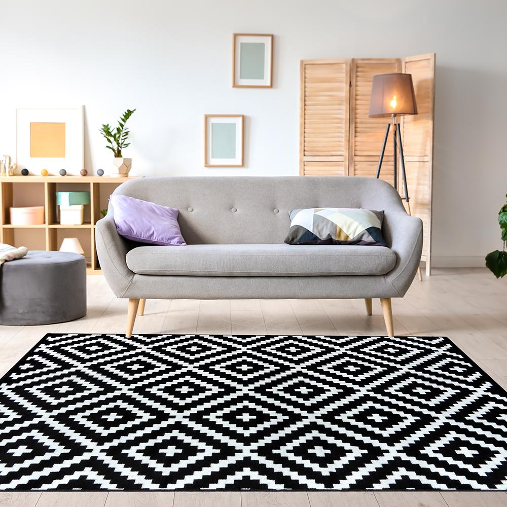 Ambience 比利時Shiraz地毯-黑與白(格紋 160x230cm)