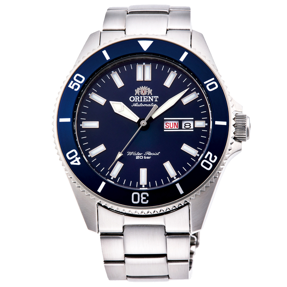 ORIENT東方200m潛水機械錶手錶RA-AA0009L-藍X銀/44mm