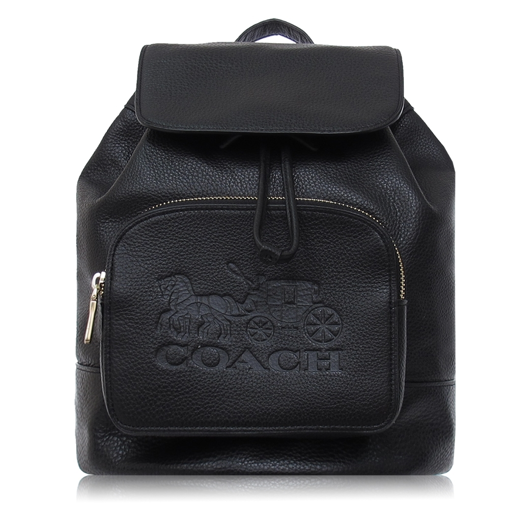 COACH 鵝卵石皮革 / JES 中款 / 後背包(黑色)