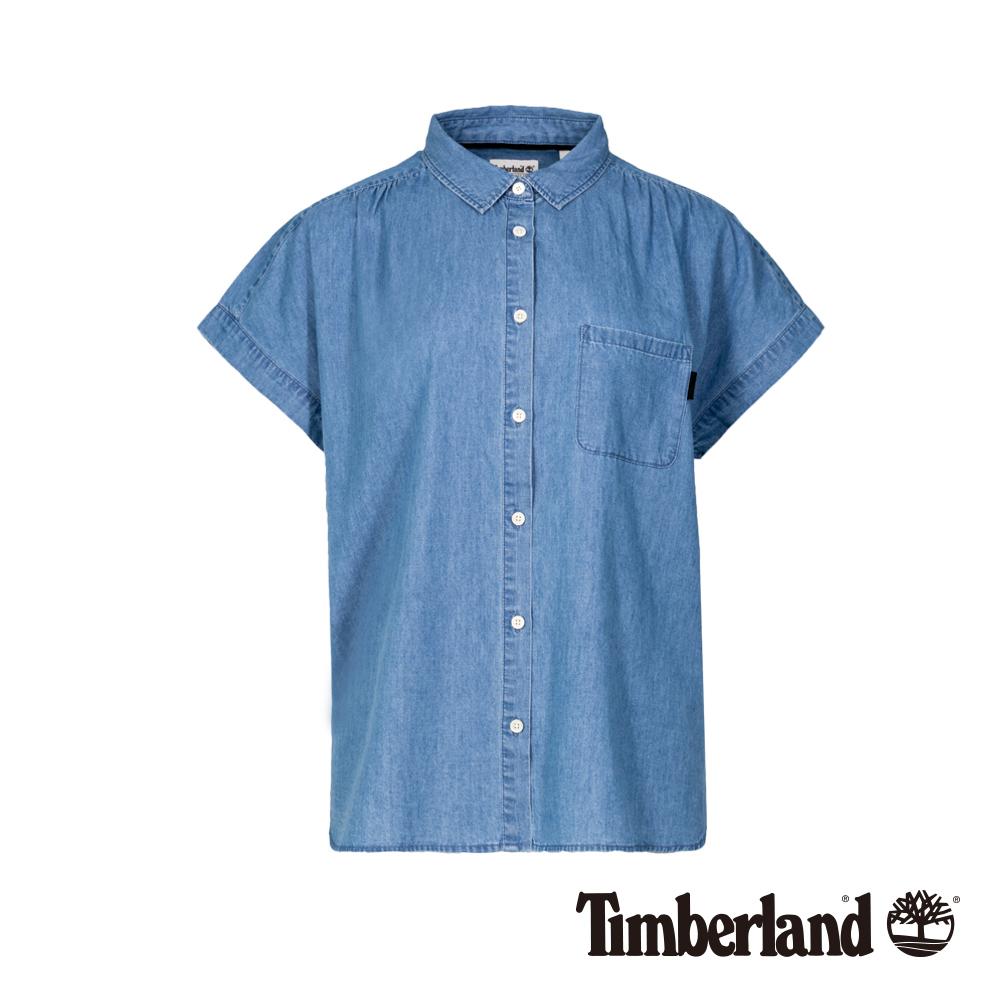 Timberland 女款水洗藍單口袋休閒短袖襯衫|B3605
