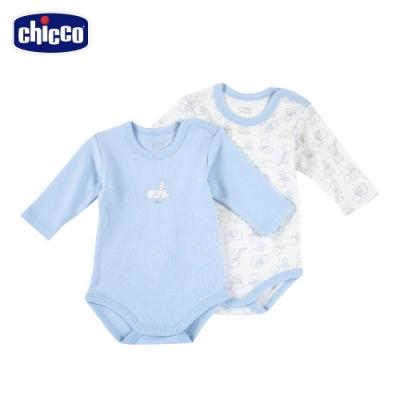chicco- 快樂企鵝-印花長袖連身衣二入