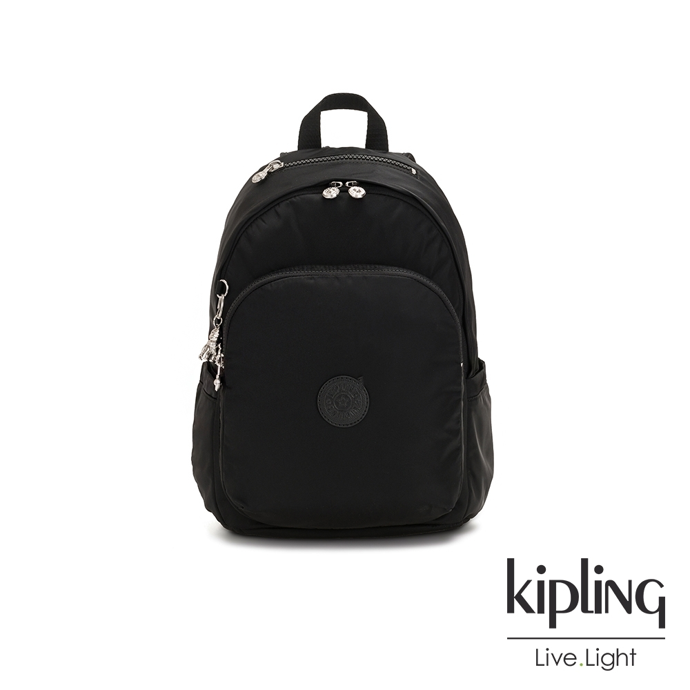 Kipling 未來質感黑上方拉鍊後背包-DELIA