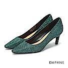 達芙妮DAPHNE 高跟鞋-金蔥亮片尖頭斜跟高跟鞋-綠