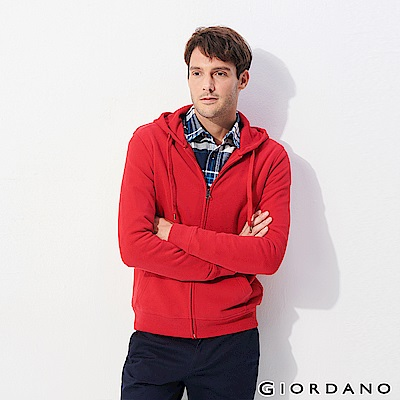 GIORDANO 男裝素色輕磨毛休閒連帽外套-18 新冠軍紅