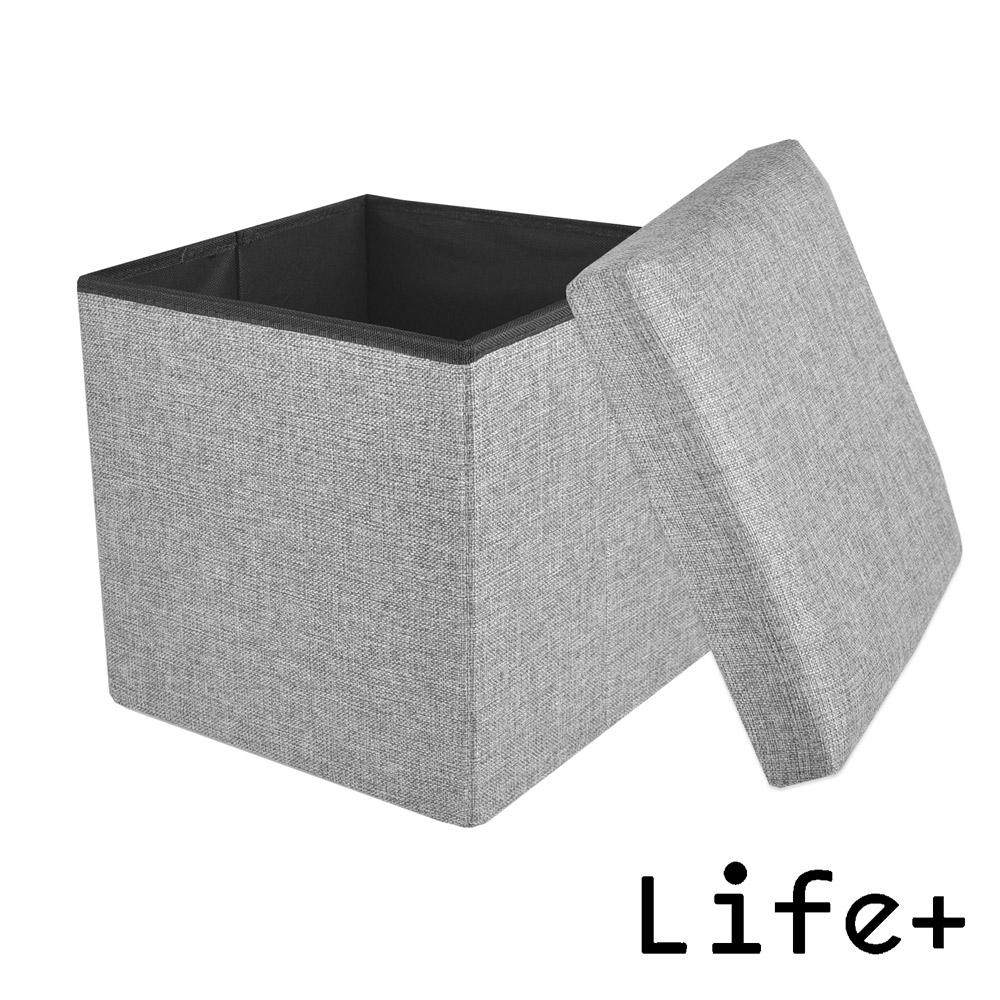 Life Plus 日式素雅棉麻可折疊收納椅凳 (麻灰)