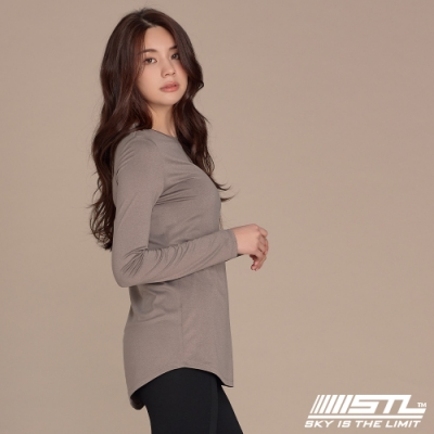 STL yoga ESSENCE LS 韓國瑜珈 運動機能 本質長版 合身蓋臀長袖上衣 拿鐵咖啡