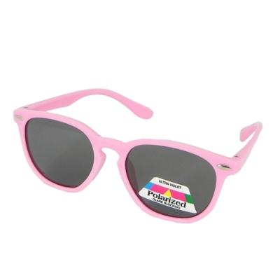 【Docomo大兒童偏光橡膠太陽眼鏡】美感粉色鏡框 偏光抗UV400鏡片 頂級設計款 坐踩壓不怕壞