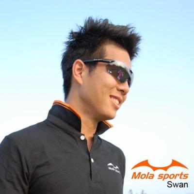 MOLA摩拉運動太陽眼鏡 超輕 男女可戴 UV400 跑步 高爾夫 自行車 Swan_bl