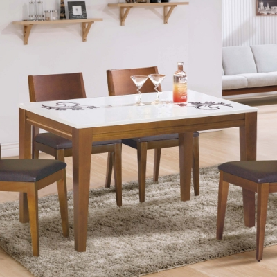 H&D 可莉雅柚木石面餐桌