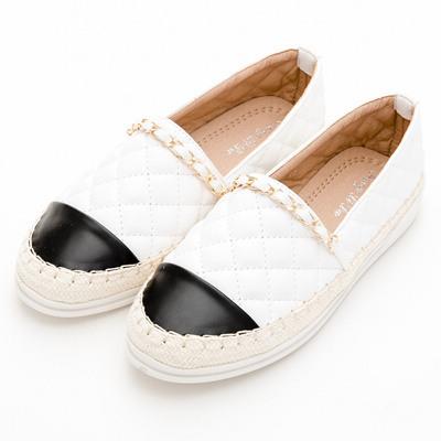 River&Moon懶人鞋-小香菱格金鍊條麻編豆豆鞋-白