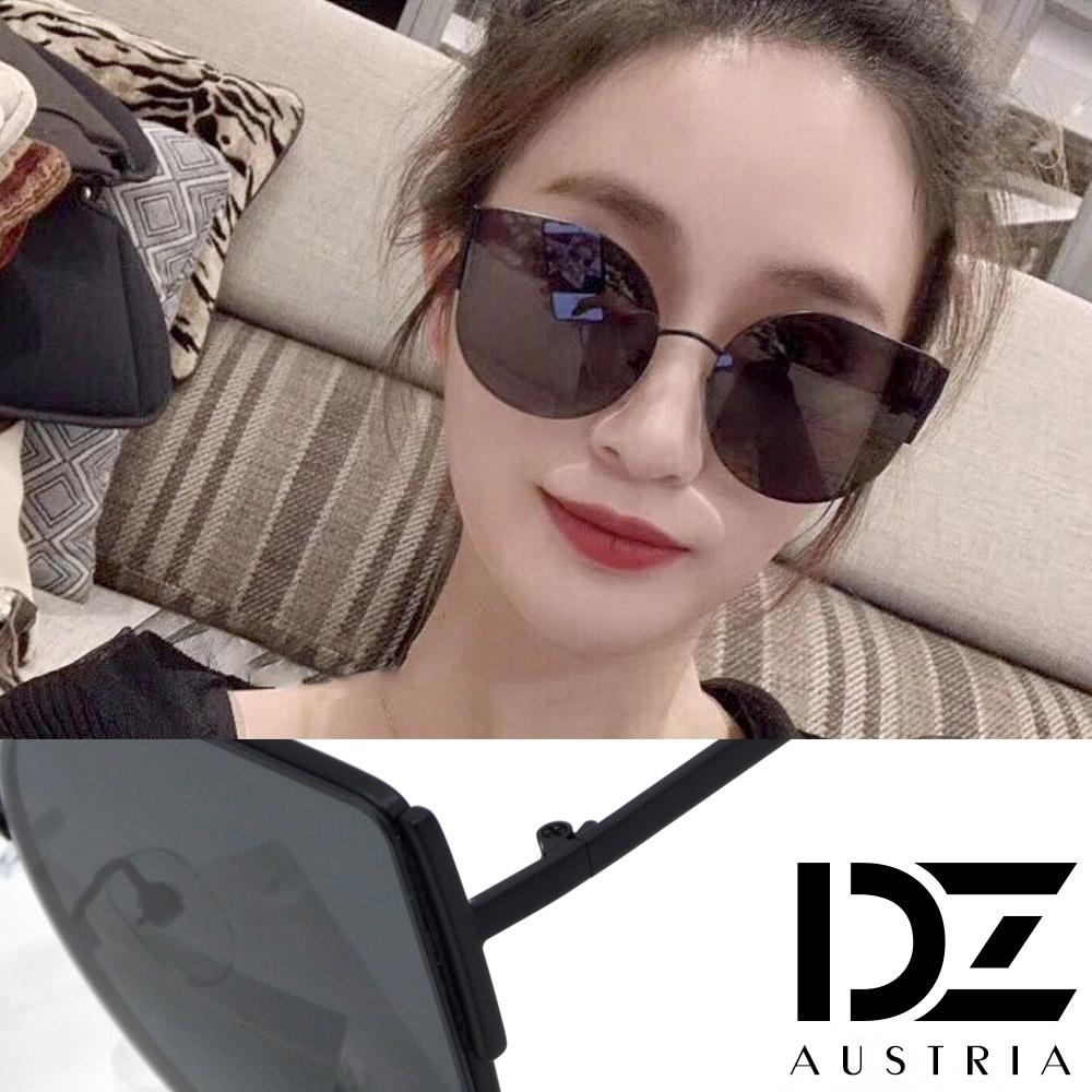 【2件59折】DZ 明星風采水滴型 抗UV防曬太陽眼鏡墨鏡(黑框灰片)
