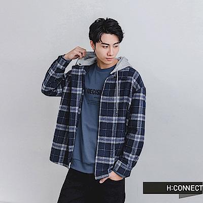 H:CONNECT 韓國品牌 男裝 -格紋連帽排釦襯衫-藍