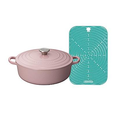 LE CREUSET 琺瑯鑄鐵橢圓鍋 23cm(雪紡粉)+耐熱矽膠長方隔熱墊(薄荷綠)