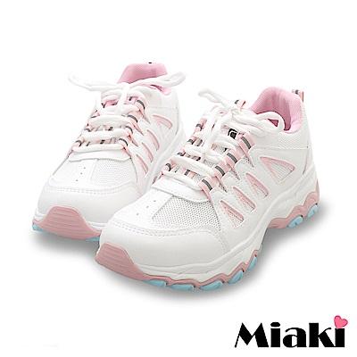 Miaki-休閒鞋.首爾必買厚底運動鞋-白粉