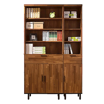 D&T 德泰傢俱 歐克斯工業生活4尺120CM書櫃-120.5x40x197cm
