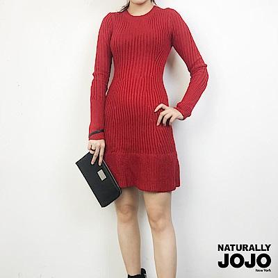 【NATURALLY JOJO】收腰典雅針織洋裝(暗紅)