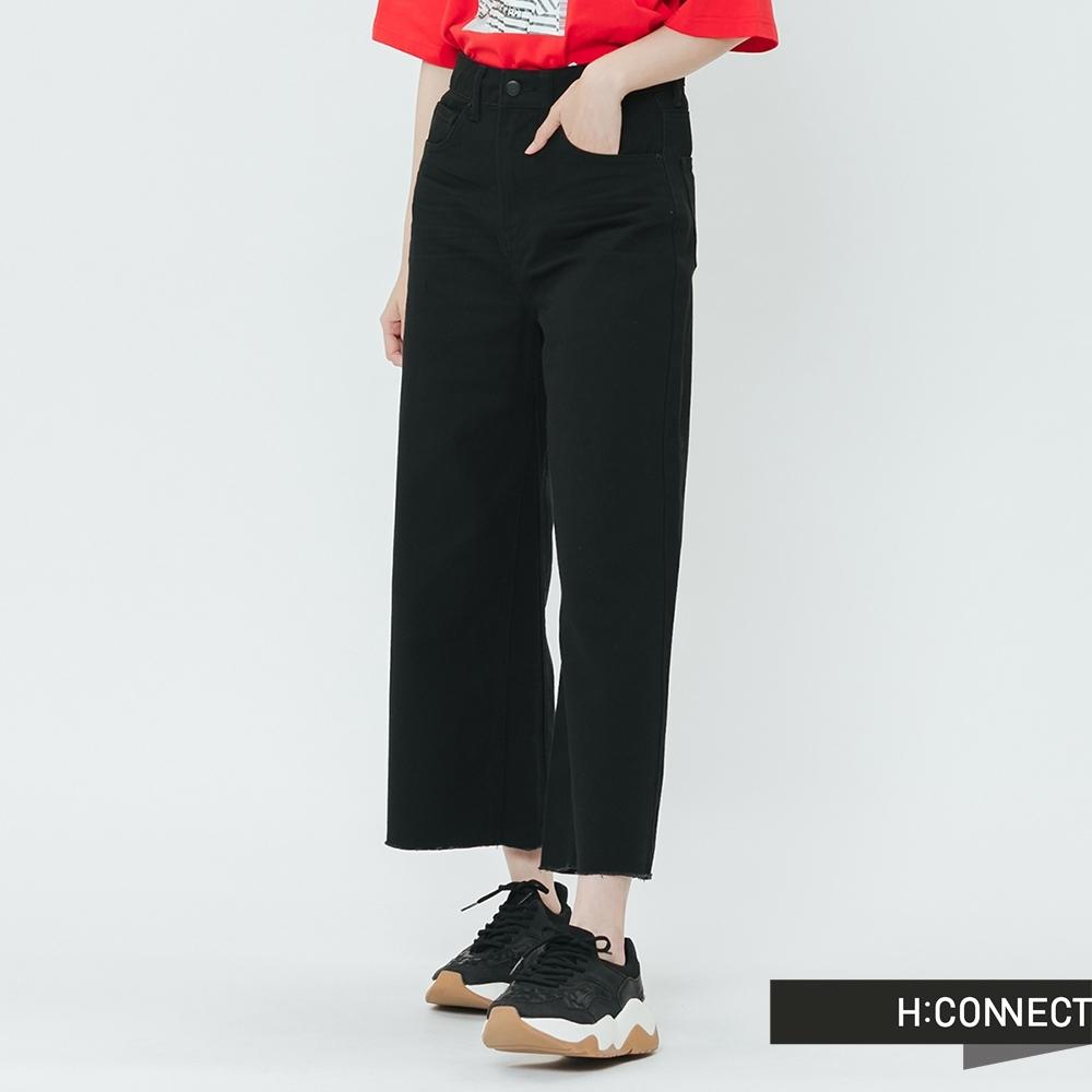 H:CONNECT 韓國品牌 女裝-抓皺修身牛仔寬褲-黑