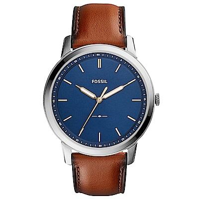 FOSSIL Minimalist紳士風尚真皮手錶(FS5304)-藍X咖啡/44mm