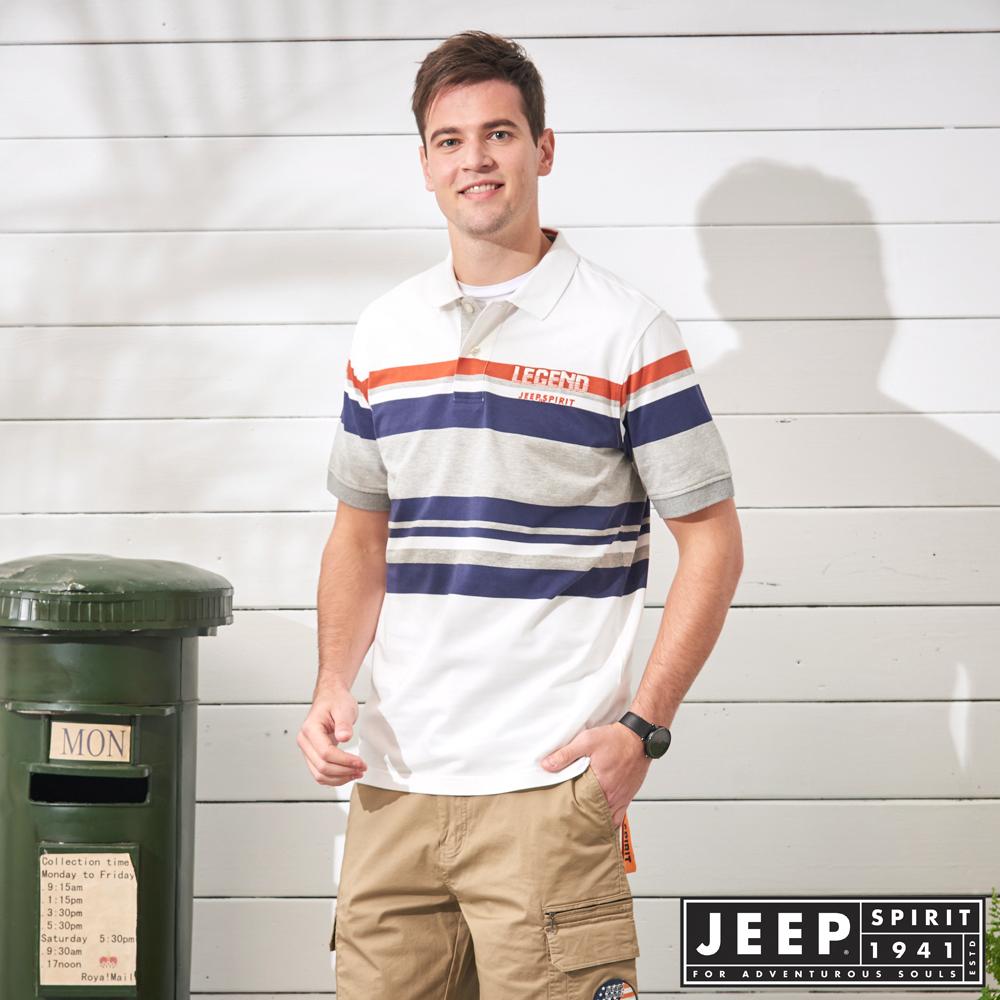 JEEP 簡約造型條紋短袖POLO衫-白色