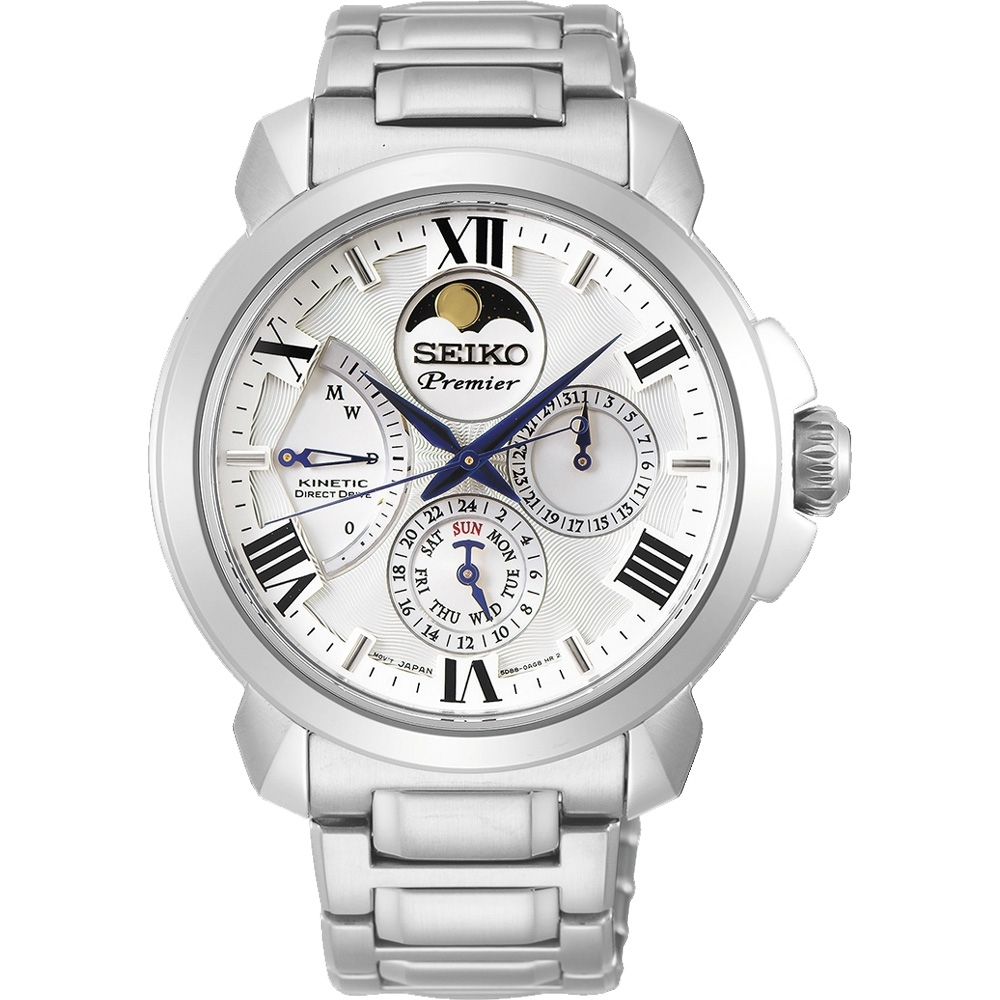 SEIKO精工 Premier 人動電能月相手錶(SRX015J1)-銀/42.5mm