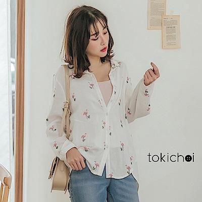 東京著衣-俏皮夏季紅鶴印圖透氣棉麻襯衫上衣