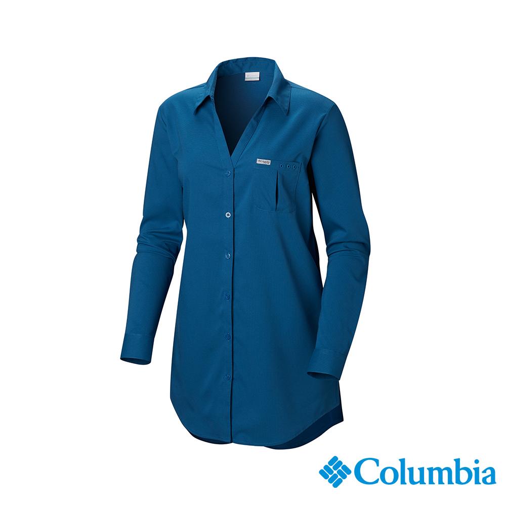 Columbia 哥倫比亞 女款-UPF40防曬長袖襯衫-深藍 UFL00660NY