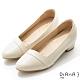DIANA 4 cm 軟臘牛皮質感線條側鞋口尖頭低跟鞋-質感氛圍–牛奶白 product thumbnail 1