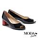高跟鞋 MODA Luxury 摩登個性撞色全真皮魚口高跟鞋-黑 product thumbnail 1